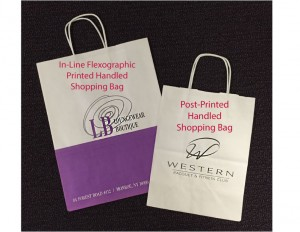 Handled Shopping Bags: One small quantity post printed bag, one printed in-line