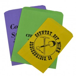 vibrantly colored paper merchandise bags