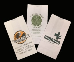 Dispensary Bags - White Custom Printed Fan 2