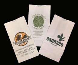 Dispensary Bags - White Custom Printed Fan 2