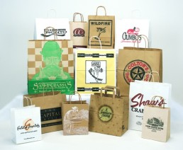 Handled Shoppers - Natural and White Custom Printed Bags