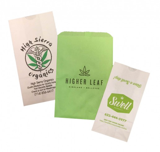 Printed paper SOS and Merchandise bags for marijuana dispensary