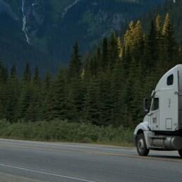 Semi Truck driving