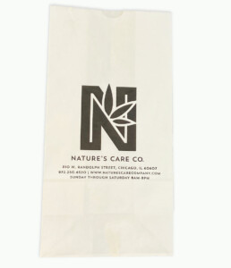 White kraft custom printed SOS dispensary bags