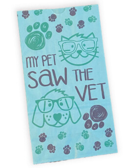 Colorful custom printed SOS bags veterinary office