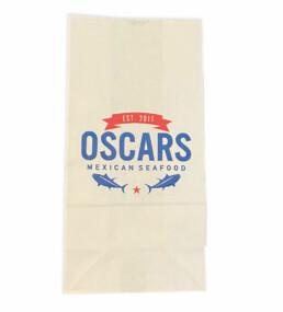 White kraft custom printed restaurant carryout bags SOS
